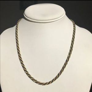 Trifari Gold Black Rope Chain Necklace